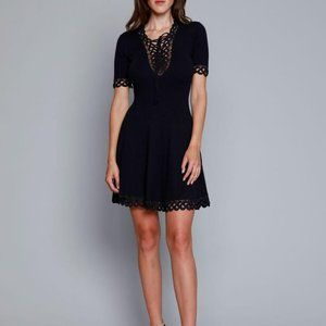 NWT Jonathan Simkhai Compact Crochet Deep V Dress